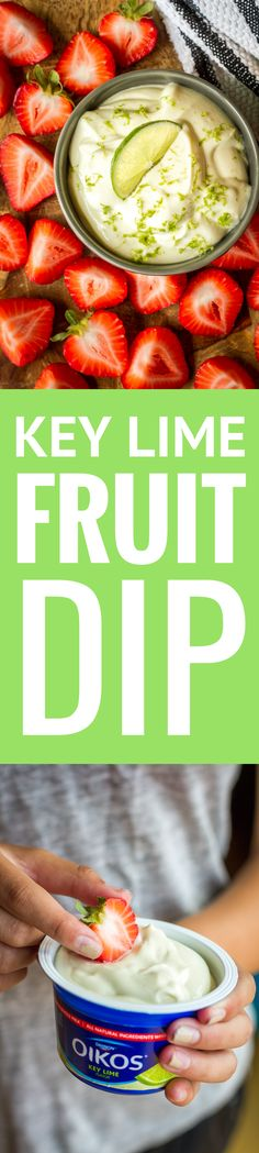 Key Lime Fruit Dip -- whip up this deliciously sweet and tangy fruit dip recipe in under five minutes with just 5 ingredients… Then stand back and watch the fruit fly off the platter! | healthy fruit dip | cream cheese fruit dip | yogurt fruit dip | best fruit dip recipe | easy fruit dip recipe | get the recipe on unsophisticook.com