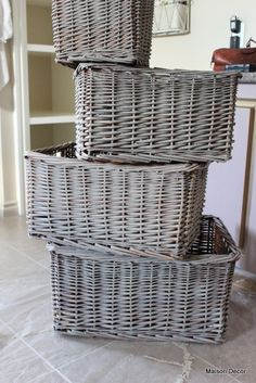 'Belgian wash' finish -accomplished by dry brushing linen color chalk paint to dark baskets.