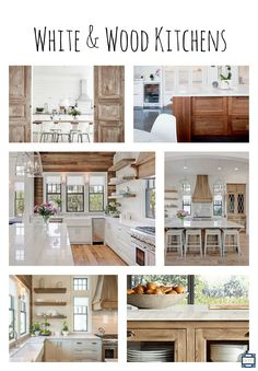 designing on the side: White & Wood Kitchens White Wood Kitchens, Gray And White Kitchen, Kitchen Board, New Kitchen, Affordable Home Decor, How To Distress Wood, Decorating Blogs, Kitchen Remodel, New Homes