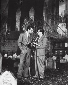 Cary Grant and Frank Capra on the set of 'Arsenic And Old Lace' (1944).  This is one of the funniest movies ever! Introduced to me by Carmen Rawlinson.