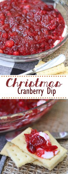 Christmas Cranberry Dip – the perfect, festive appetizer for the holiday season!… Christmas Cranberry Dip – the perfect, festive appetizer for the holiday season! Fresh cranberries, pineapple preserves, and cream cheese with buttery crackers! Thanksgiving Appetizers, Christmas Appetizers, Thanksgiving Recipes, Holiday Recipes, Christmas Recipes, Christmas Snacks, Holiday Meals, Christmas Cooking, Party Recipes