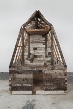 Marianne Vitale makes these beautiful sculptures, from scrap wood, that recreate barns, outhouses and bridges and then she riddles them with bullet holes or burns them. They are evocative of ghost towns of abandonment and society breakdown and yet they are sculptures of great beauty.