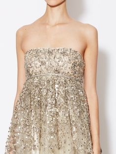 Silk Empire Waist Embellished Gown by Oscar de la Renta at Gilt
