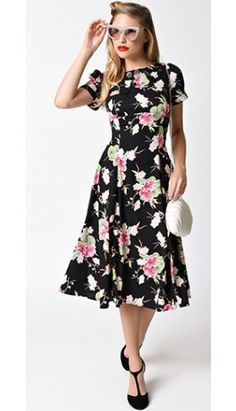 Hell Bunny Black   Floral Freya Swing Dress 1940s Fashion Dresses e7b383d8c867