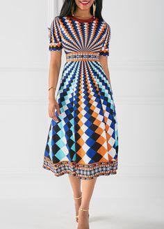 Printed Round Neck High Waist Dress | Rotita.com - USD $34.15 .....{Pretty with a wild design!-LD}..