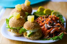 Cali Veggie Burger Sliders with Carrot Sunshine Slaw.(From Scratch <3)