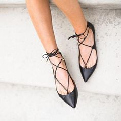 strappy black pointed flats