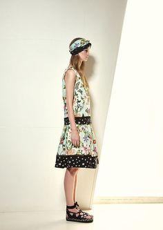 Model wears Naughty Dog SS17 flowers & butterflies dress
