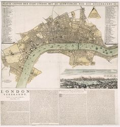 This day in 1666 - Great Fire of London ends, leaving houses destroyed and 8 dead. History Articles, Uk History, British History, Great Fire Of London, The Great Fire, London Map, Old London, Vintage Maps, Antique Maps