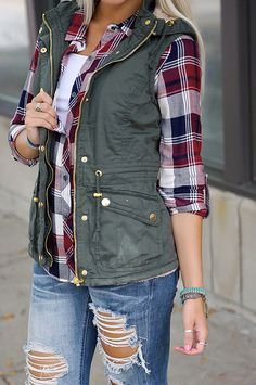 ripped denim + plaid shirt + olive vest