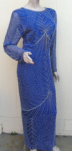 Clearance Dress Sales /  Blue  Beaded Sequin by Prettyagedthings