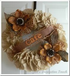 Cute wreath made from coffee filters!
