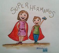 Súper hermanos!!!! #undibujoparacadadía #47 #dailydraw #scketchbook #dibujando #feliz #hermanos #niños #watercolor #acuarela #doodle #ink