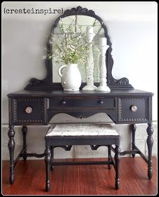 Vanity, painted black & distressed.