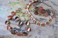 Vintage Lucite and Gold Leaves Tan Brown by CreativeWorkStudios