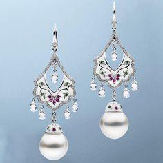 """AUTORE METROPOLITAN COLLECTION | Taj Mahal Earrings | #autore #autorepearls #baselworld #baselworld2016 #emeralds #rubies #pearls #diamonds #finejewellery…"""