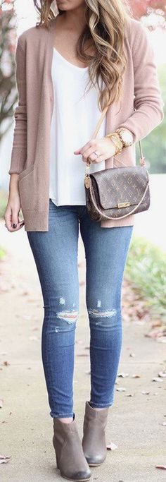 #summer #outfits Blush Cardigan + White Top + Ripped Skinny Jeans + Grey Booties