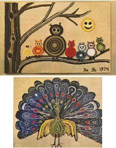 Vintage Crafting – 1970′s Yarn Art – DIY Tutorial Retro Crafts, Fun Crafts, Arts And Crafts, Vintage Diy, Vintage Crafts, Doodle Images, Finger Crochet, Yarn Painting, String Art Patterns