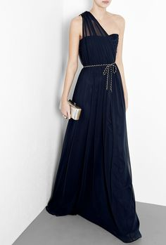 Navy Dream One Shoulder Maxi Dress.....i want this dress in a nude/peach color.....a girl can dream