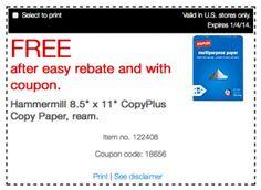 FREE HammerMill CopyPlus Copy Paper at Staples