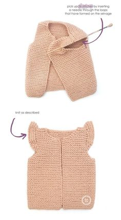 Knitted Girly Vest – Baby Knitting Pattern & Tutorial -Baby Vest , Knitted Girly Vest – Baby Knitting Pattern & Tutorial Knitted Girly Vest for baby KNITTING. Knitting For Kids, Baby Knitting Patterns, Baby Patterns, Free Knitting, Knitting Baby Girl, Knitting Designs, Knitting Projects, Crochet Projects, Diy Tricot Gilet