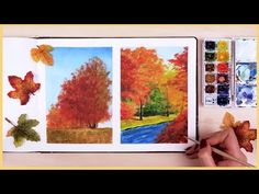 How to Paint a Fall Scenery with Watercolors for Beginners   Art Journal Thursday Ep. 18 - YouTube