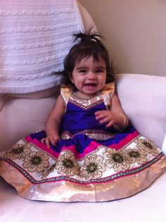 Girls silk lehenga in purple and pink by Bubblinga on Etsy