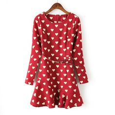 Long-sleeved peach heart print dress