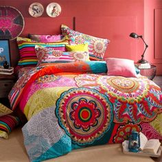 Red Blue and Yellow Colorful Bohemian Tribal Circle Print Indian Pattern Modern Chic 100% Brushed Cotton Full, Queen Size Bedding Sets