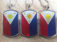 PHILIPPINES FLAG DOG TAGS WITH CHAIN