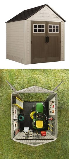There's are good reasons this is one of The Home Depot's most popular storage It's the right size for storing commonly used yard equipment. It's super durable. Check this one out when you're ready to upgrade your back yard storage. Home Depot, Shed Organization, Shed Storage, Storage Organizers, Rubbermaid Shed, Steel Framing, Shed Kits, Shops, Tool Sheds