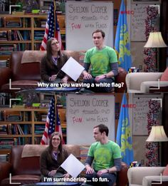 """""""I'm surrendering...to fun hahaha."""" Amy and Sheldon. The best couple on Big Band Theory :)"""