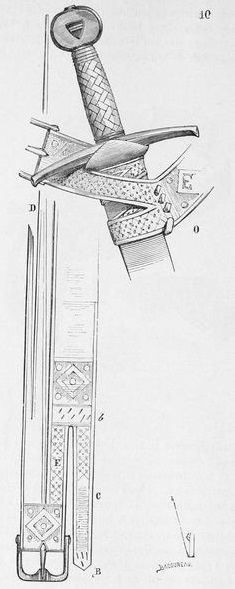 Diagram of medieval sword belt, one style of fastening scabbard to the belt. Perhaps the sword of Lassen? Medieval Belt, Medieval Weapons, Medieval Fantasy, Larp, Swords And Daggers, Knives And Swords, High Fantasy, Sword Belt, Sword Sheath