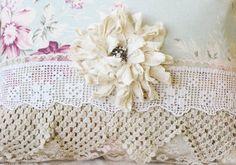 vintage lace down rose pillow