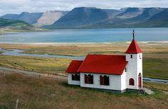 Here's a beautiful view of the Mýrar church in Dýrafjörður, Iceland.  #myrar #church #iceland #travel #roadtrip #tour #adventure