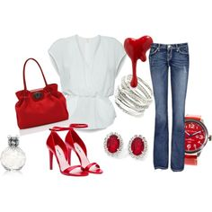 Red shoes always compliment an outfit.