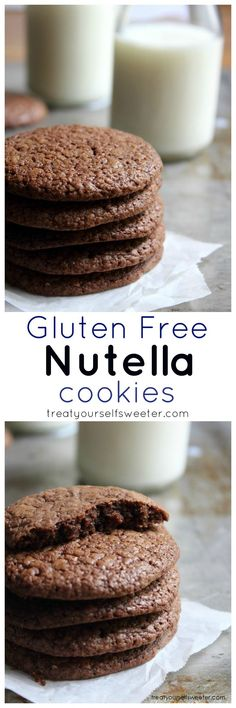 Gluten Free Nutella Cookies; imagine the top, crispy, chewy layer of a brownie- here it is, in cookie form!