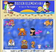 """Dozier Elementary's """"Sea of iPad Resources"""": Listed are educational apps that could be used with iPads in the classroom.  The site has 500+  free apps and paying apps.  They are divided by Reading, Math, Writing, Science, Social Studies, Music.   Additional categories include book and creative apps."""