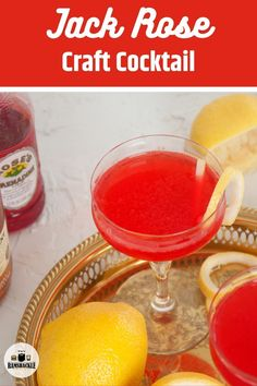 The classic Jack Rose cocktail is delicious and combines the great flavors of apple, lemon, and pomegranate into one delicious and easy drink. #jackrose #applejack