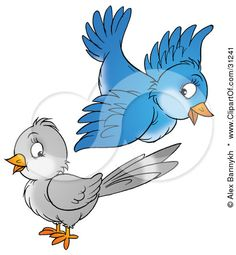 Clipart Illustration of a Cute Blue Bird Flying Above A Gray Bird by Alex Bannykh