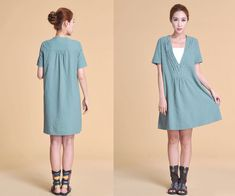 Lovely Deep V Neckline Linen Dress with Ruffles/ 30 Colors/ Any Size