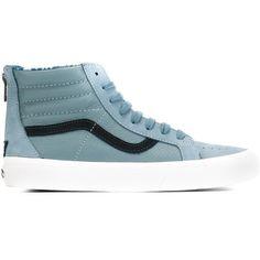 Vans Sk8 Hi-Top Sneakers ($122) ❤ liked on Polyvore featuring shoes, sneakers, blue, high top sneakers, blue shoes, unisex shoes, vans footwear and high top shoes