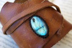 Leather Cuff Wrap Bracelet and Macrame Labradorite Semi Precious Stone Bracelet - Hippie Style (Stone for creativity and dreamers)