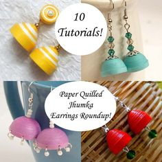 Browse these 26 pairs of paper quilled jhumka earrings for inspiration. Some of them even have tutorials! Jhumka earrings come in so many styles and colors Quilling Earrings Jhumkas, Quilling Studs, Paper Quilling Jewelry, Origami And Quilling, Paper Earrings, Paper Jewelry, Fabric Jewelry, Paper Beads, Jewelry Crafts