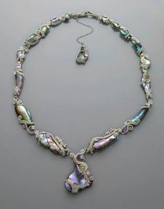 From Naomi Hinds Designs--Find her on Facebook. She makes amazing jewelry! Californian Abalone Pearl & Gem Set Necklace / Mineral Friends <3