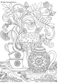 Coloring Page for Adults Tea time by Egle Stripeikiene. Size - A3 ​Publisher: www.almalittera.lt