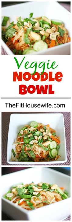 Veggie Noodle Bowl. An Asian inspired veggie bowl full of flavour. 21 Day Fix: 1 yellow, 1 green, 1 orange