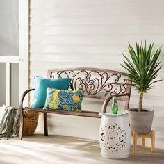 Front Porch Seating, House Front Porch, Small Front Porches, Front Porch Bench Ideas, Porch Ideas, Front Verandah, Porche Shabby Chic, Outdoor Garden Bench, Outdoor Benches