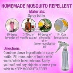 """Would YOU like to make YOUR own natural """"mosquito repellent""""? ❥➥❥ Lemon juice, vanilla extract, Lavender oil  Do YOU like to use anything?  ♥Like✔""""Share""""✔Tag♥Comment✔Repost✔God Bless♥   ℒℴѵℯ / Thanks / Visit ➸ Rawforbeauty  #GodsGardenOfEden #mosquito #health ♡ ♥ ♡ pinned with Pinvolve - pinvolve.co"""