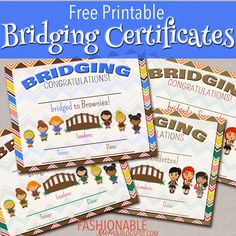 Fashionable Moms: Free Printable Bridging Certificates for Girl Scouts Scout Mom, Girl Scout Swap, Girl Scout Leader, Daisy Girl Scouts, Girl Scout Troop, Girl Scout Badges, Brownie Girl Scouts, Girl Scout Cookies, Girl Scout Bridging